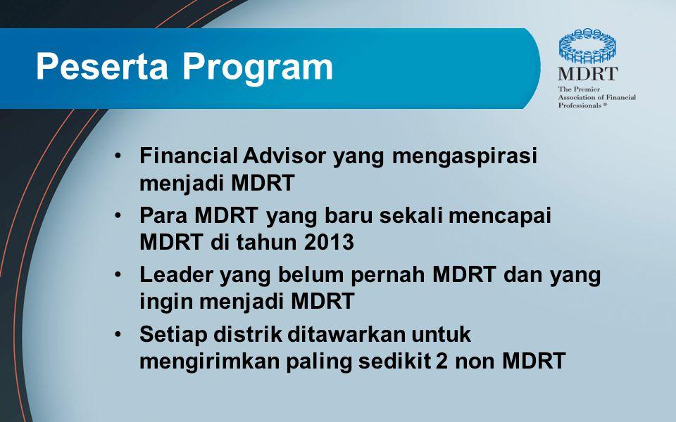 Peserta Program Financial Advisor yang mengaspirasi menjadi MDRT Para MDRT yang baru sekali mencapai MDRT di tahun 2013 Leader yang belum pernah MDRT