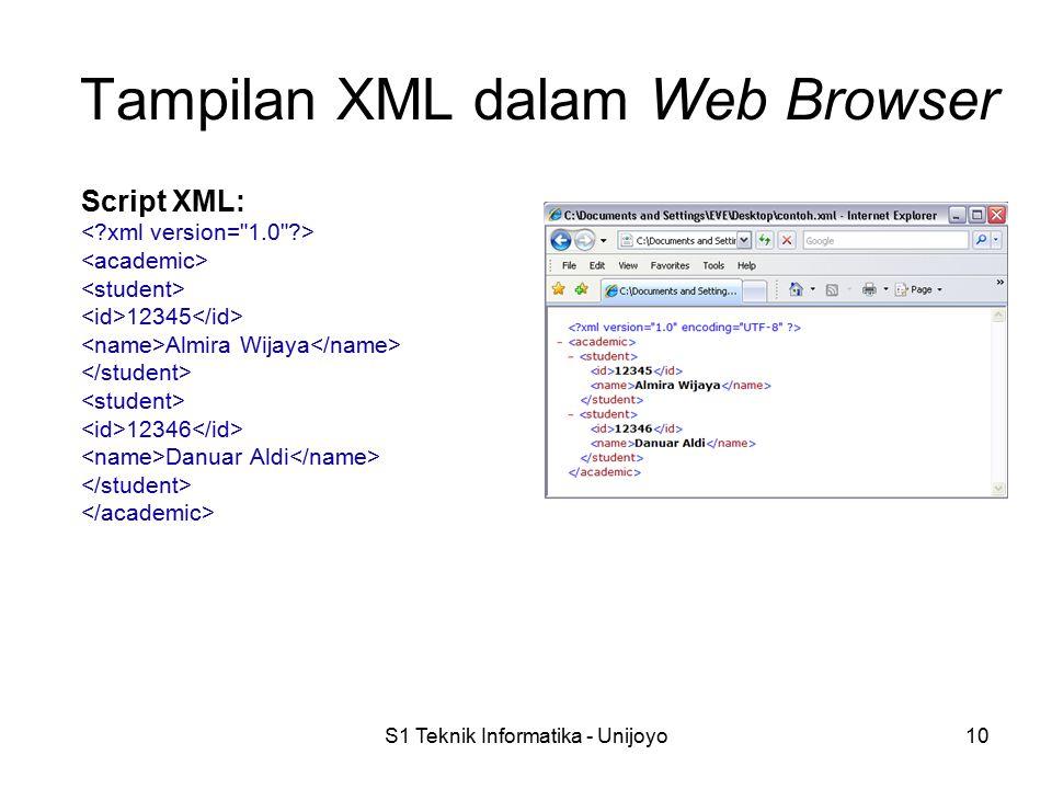 S1 Teknik Informatika - Unijoyo10 Tampilan XML dalam Web Browser Script XML: 12345 Almira Wijaya 12346 Danuar Aldi