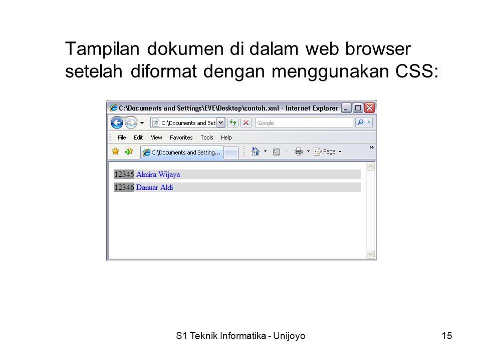 S1 Teknik Informatika - Unijoyo15 Tampilan dokumen di dalam web browser setelah diformat dengan menggunakan CSS: