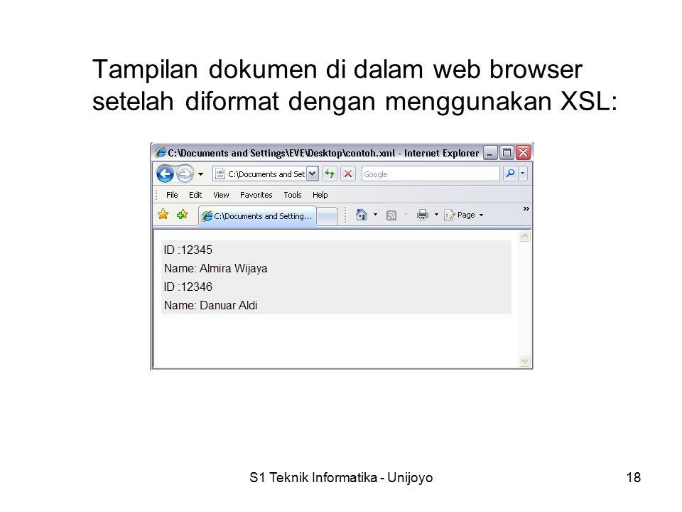 S1 Teknik Informatika - Unijoyo18 Tampilan dokumen di dalam web browser setelah diformat dengan menggunakan XSL: