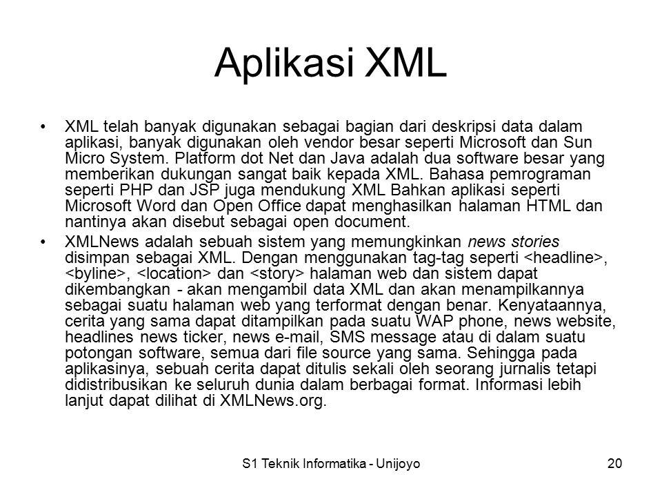S1 Teknik Informatika - Unijoyo20 Aplikasi XML XML telah banyak digunakan sebagai bagian dari deskripsi data dalam aplikasi, banyak digunakan oleh vendor besar seperti Microsoft dan Sun Micro System.