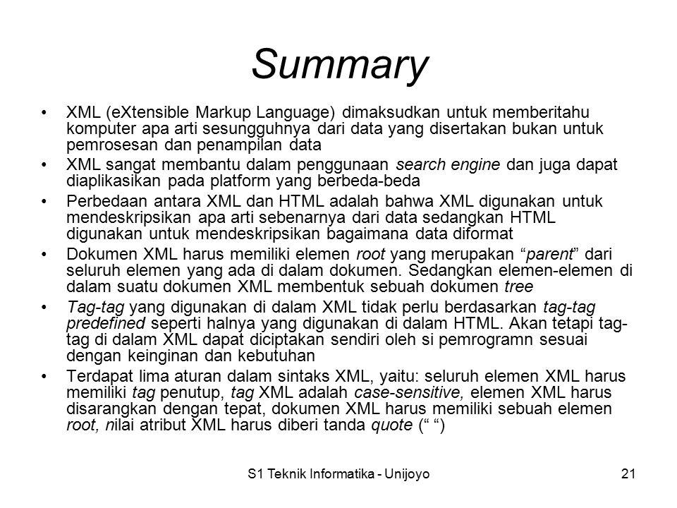 S1 Teknik Informatika - Unijoyo21 Summary XML (eXtensible Markup Language) dimaksudkan untuk memberitahu komputer apa arti sesungguhnya dari data yang