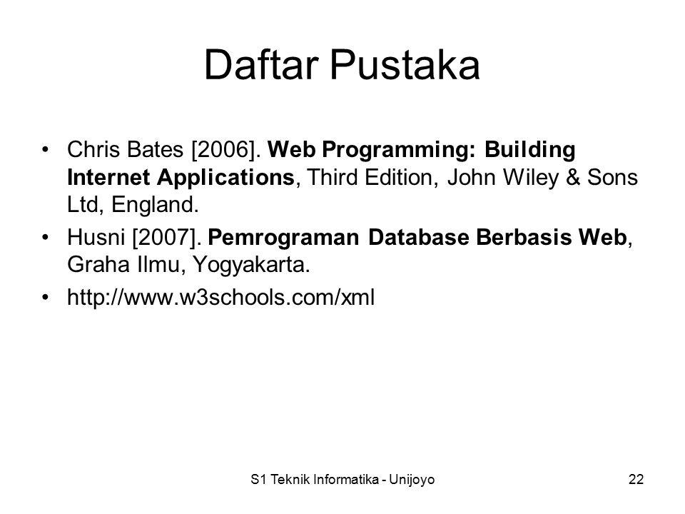 S1 Teknik Informatika - Unijoyo22 Daftar Pustaka Chris Bates [2006]. Web Programming: Building Internet Applications, Third Edition, John Wiley & Sons
