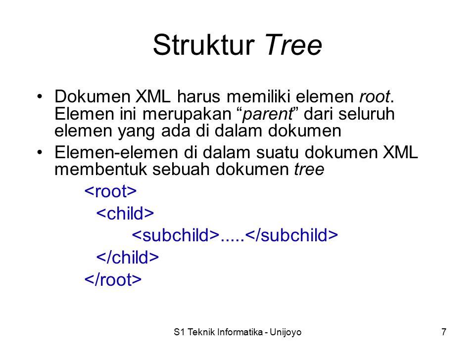 """S1 Teknik Informatika - Unijoyo7 Struktur Tree Dokumen XML harus memiliki elemen root. Elemen ini merupakan """"parent"""" dari seluruh elemen yang ada di d"""