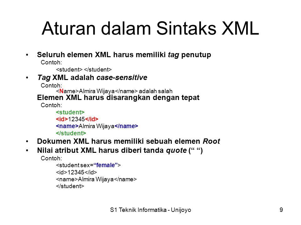 S1 Teknik Informatika - Unijoyo9 Aturan dalam Sintaks XML Seluruh elemen XML harus memiliki tag penutup Contoh: Tag XML adalah case-sensitive Contoh: