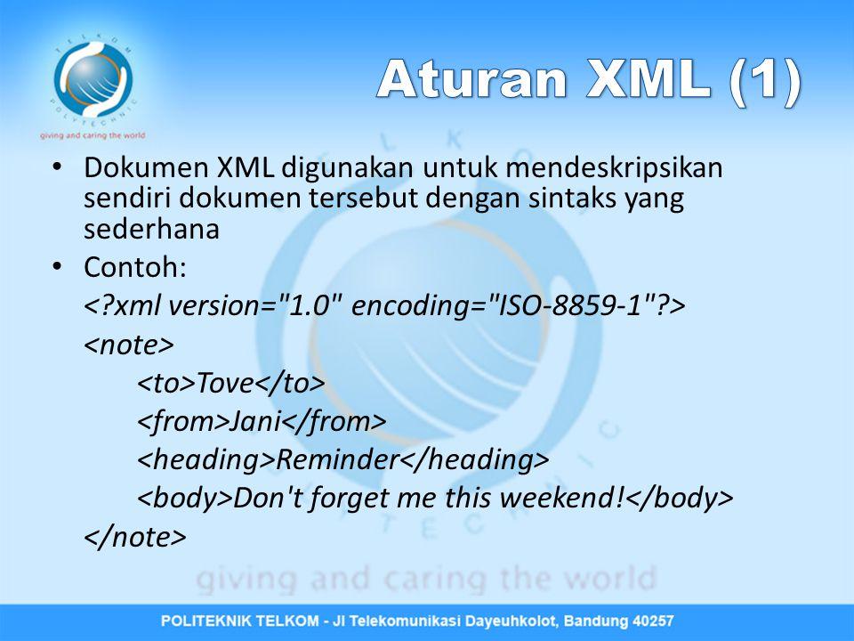 Dokumen XML digunakan untuk mendeskripsikan sendiri dokumen tersebut dengan sintaks yang sederhana Contoh: Tove Jani Reminder Don't forget me this wee