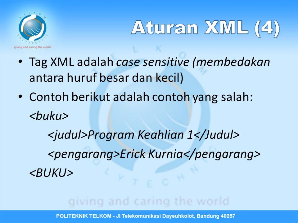 Tag XML adalah case sensitive (membedakan antara huruf besar dan kecil) Contoh berikut adalah contoh yang salah: Program Keahlian 1 Erick Kurnia