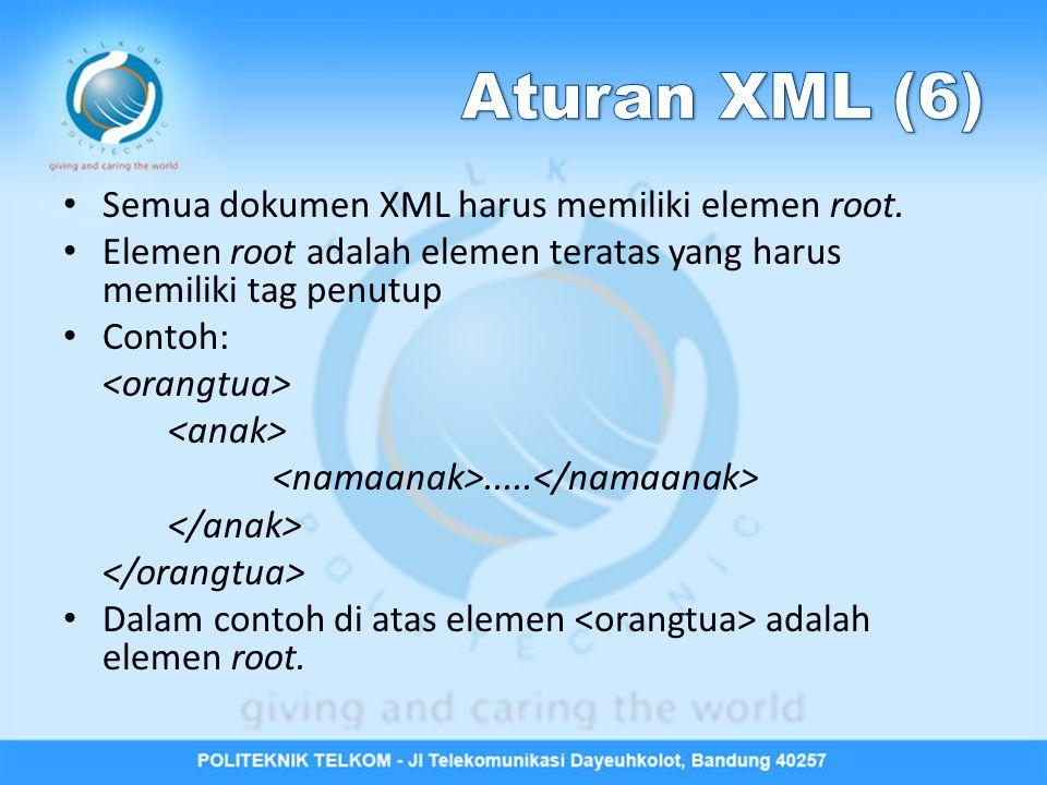 Semua dokumen XML harus memiliki elemen root. Elemen root adalah elemen teratas yang harus memiliki tag penutup Contoh:..... Dalam contoh di atas elem