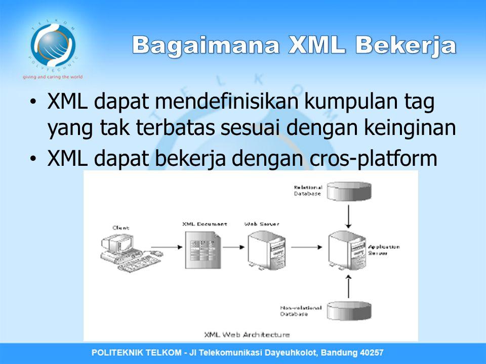 XML dapat mendefinisikan kumpulan tag yang tak terbatas sesuai dengan keinginan XML dapat bekerja dengan cros-platform