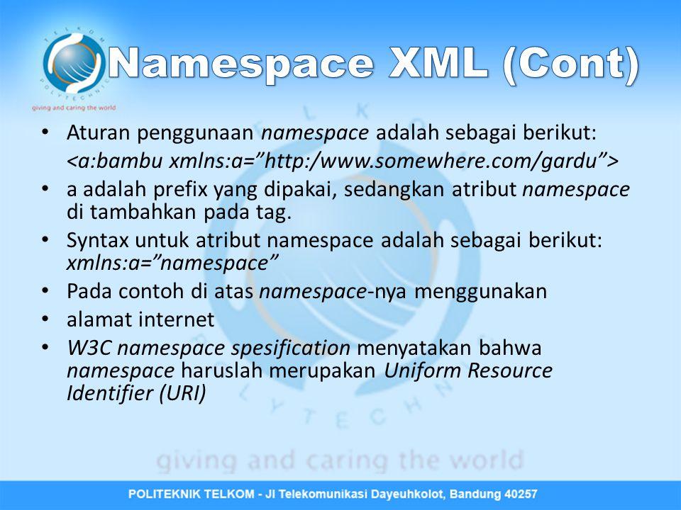 Aturan penggunaan namespace adalah sebagai berikut: a adalah prefix yang dipakai, sedangkan atribut namespace di tambahkan pada tag. Syntax untuk atri
