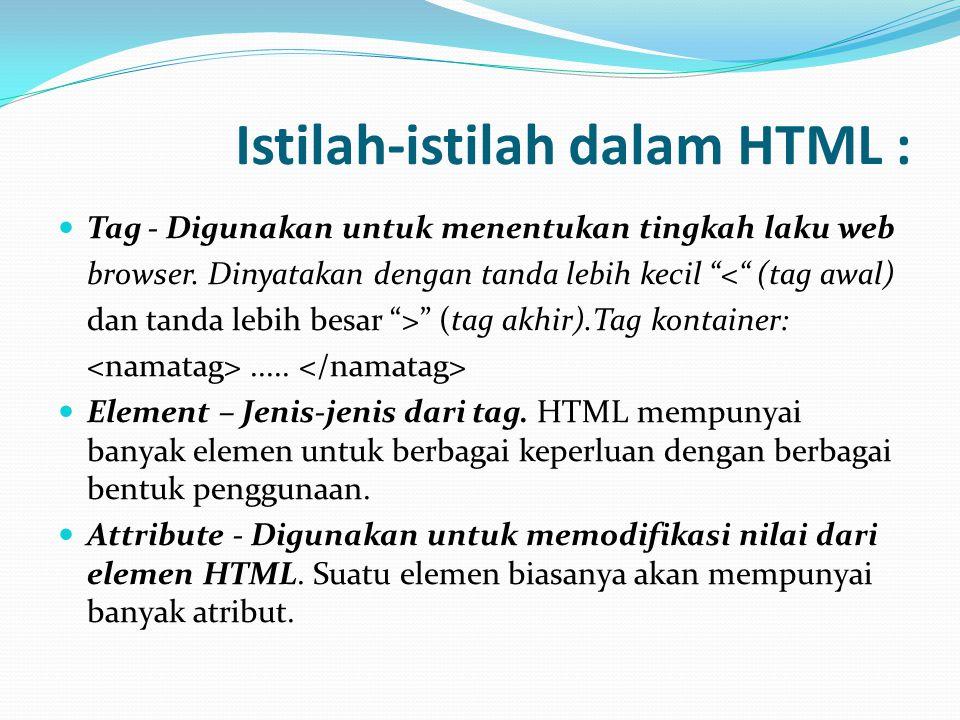 Istilah-istilah dalam HTML : Tag - Digunakan untuk menentukan tingkah laku web browser.