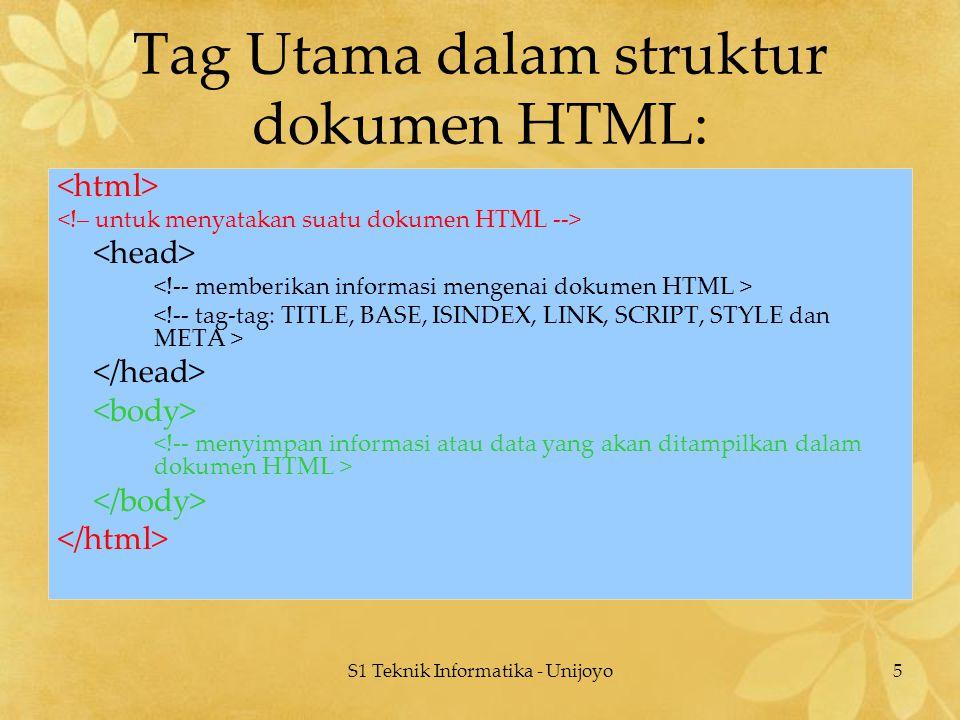 S1 Teknik Informatika - Unijoyo5 Tag Utama dalam struktur dokumen HTML: