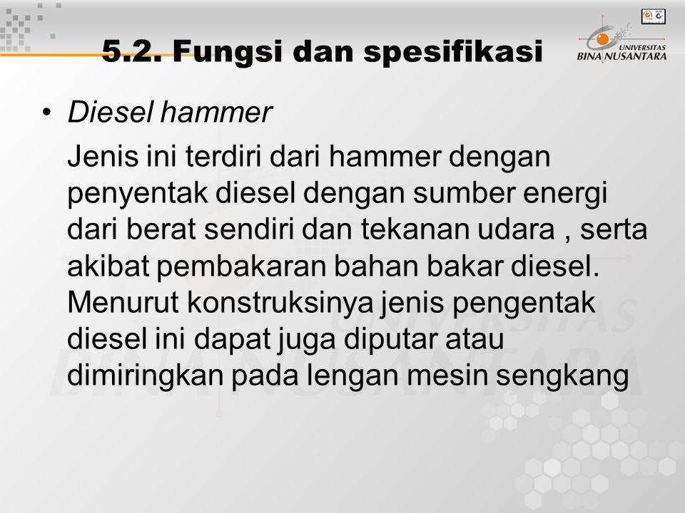 Diesel hammer Jenis ini terdiri dari hammer dengan penyentak diesel dengan sumber energi dari berat sendiri dan tekanan udara, serta akibat pembakaran bahan bakar diesel.