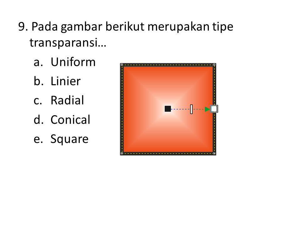 9. Pada gambar berikut merupakan tipe transparansi… a.Uniform b.Linier c.Radial d.Conical e.Square