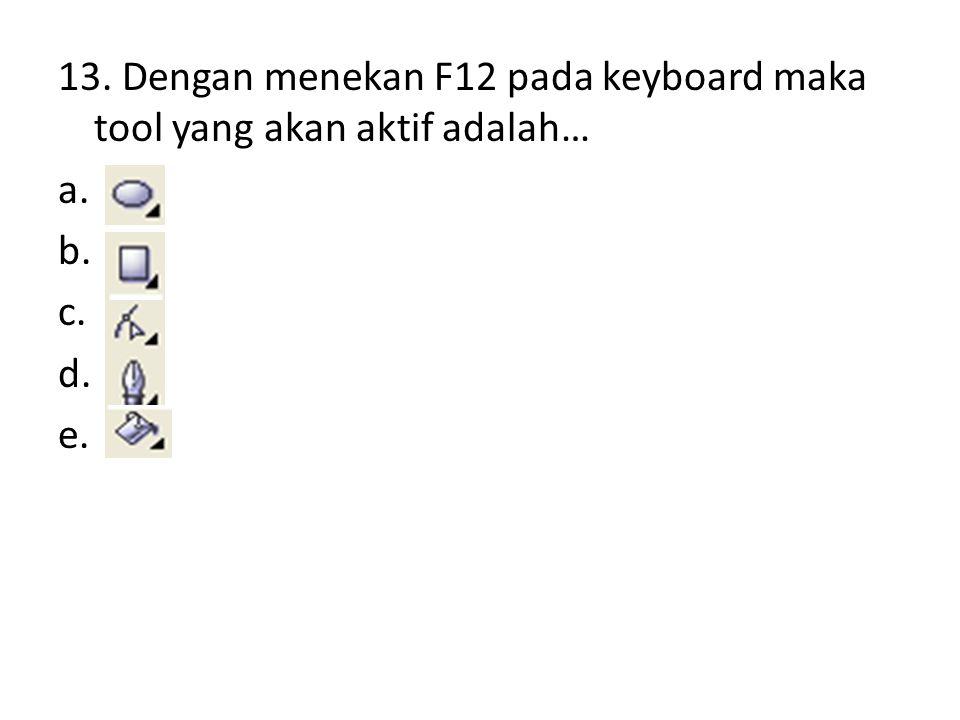 13. Dengan menekan F12 pada keyboard maka tool yang akan aktif adalah… a.. b.. c.. d.. e..