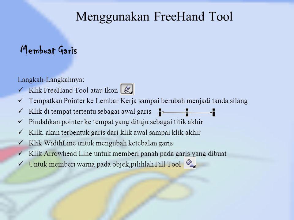 Menggunakan FreeHand Tool Langkah-Langkahnya: Klik FreeHand Tool atau Ikon Tempatkan Pointer ke Lembar Kerja sampai berubah menjadi tanda silang Klik