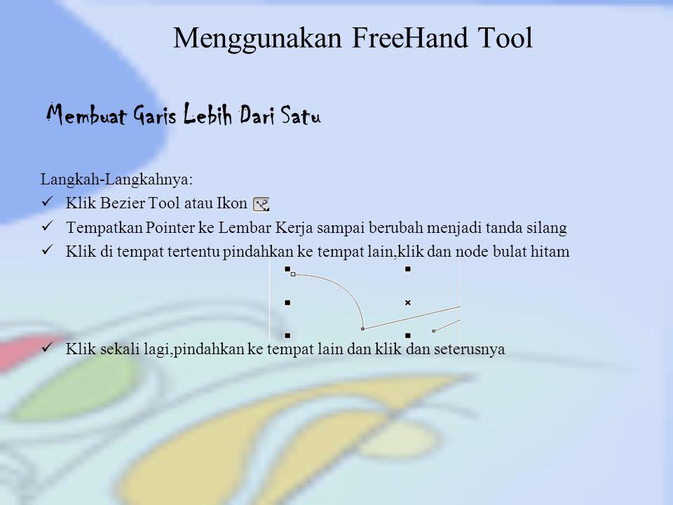 Menggunakan FreeHand Tool Langkah-Langkahnya: Klik Bezier Tool atau Ikon Tempatkan Pointer ke Lembar Kerja sampai berubah menjadi tanda silang Klik di