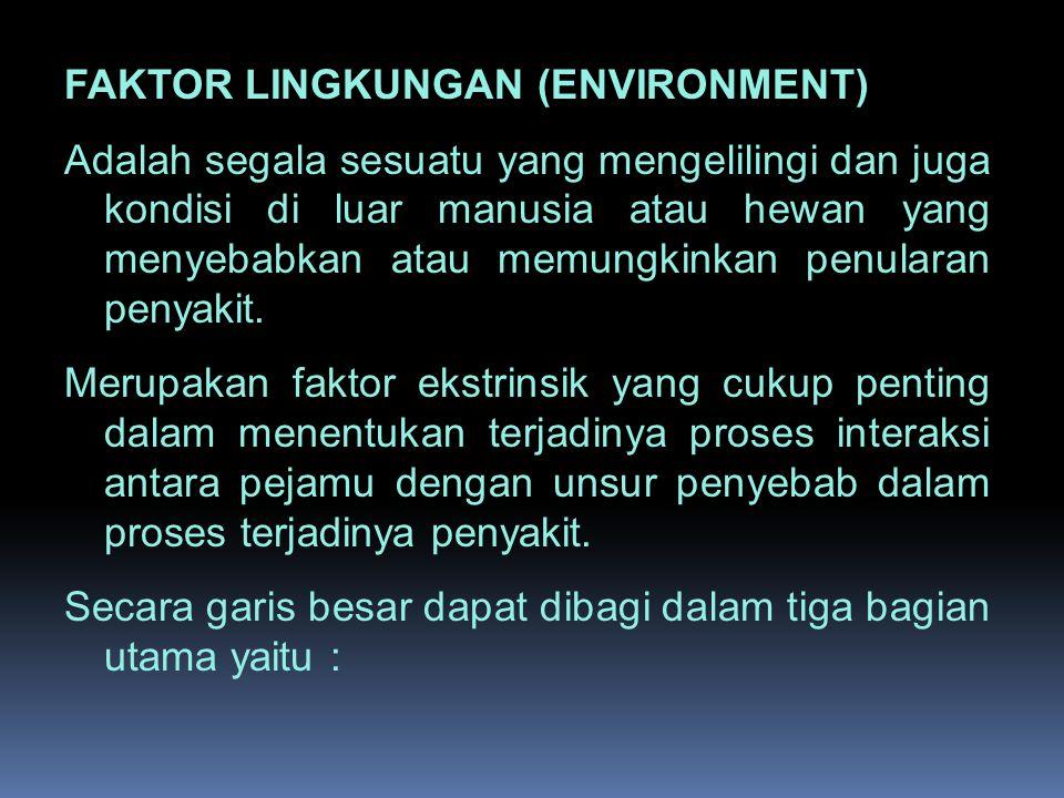 FAKTOR LINGKUNGAN (ENVIRONMENT) Adalah segala sesuatu yang mengelilingi dan juga kondisi di luar manusia atau hewan yang menyebabkan atau memungkinkan penularan penyakit.