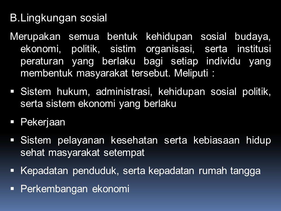 B.Lingkungan sosial Merupakan semua bentuk kehidupan sosial budaya, ekonomi, politik, sistim organisasi, serta institusi peraturan yang berlaku bagi setiap individu yang membentuk masyarakat tersebut.
