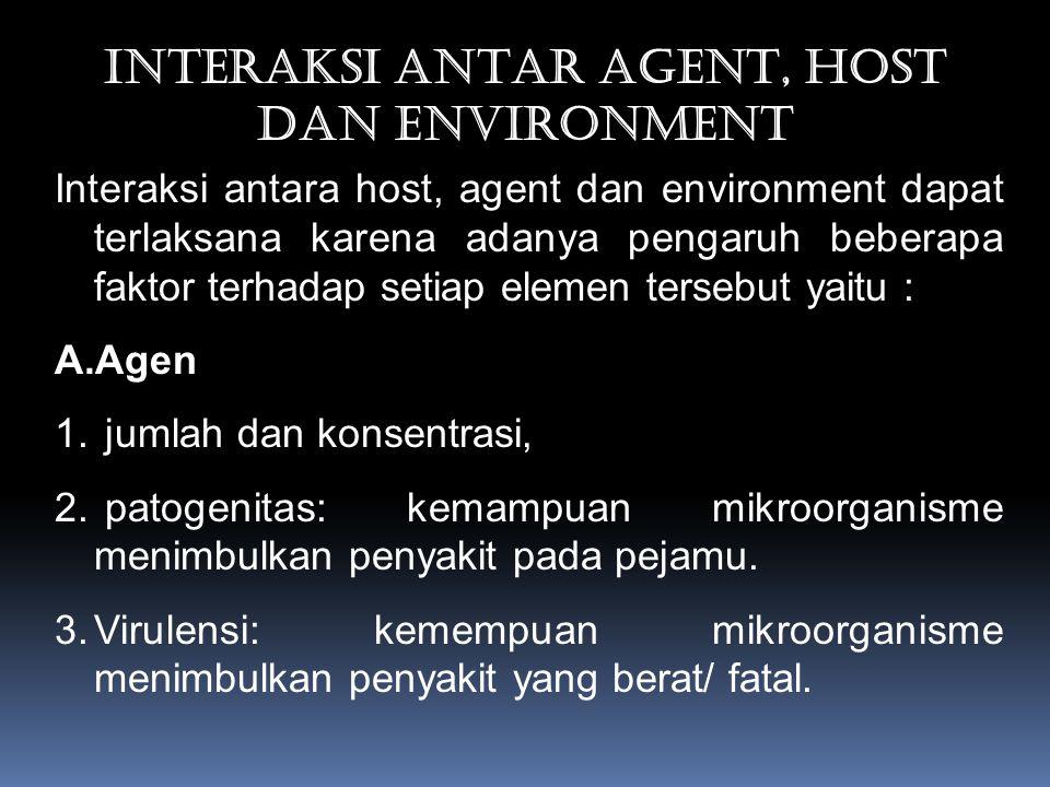 INTERAKSI ANTAR AGENT, HOST DAN ENVIRONMENT Interaksi antara host, agent dan environment dapat terlaksana karena adanya pengaruh beberapa faktor terhadap setiap elemen tersebut yaitu : A.Agen 1.