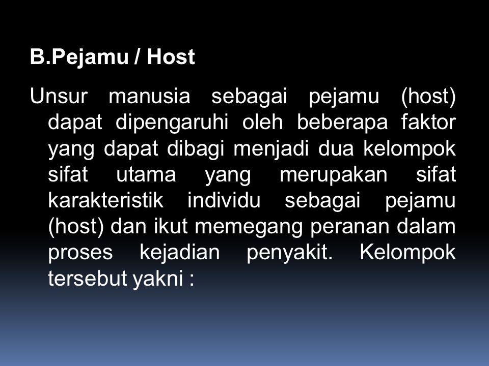 B.Pejamu / Host Unsur manusia sebagai pejamu (host) dapat dipengaruhi oleh beberapa faktor yang dapat dibagi menjadi dua kelompok sifat utama yang merupakan sifat karakteristik individu sebagai pejamu (host) dan ikut memegang peranan dalam proses kejadian penyakit.
