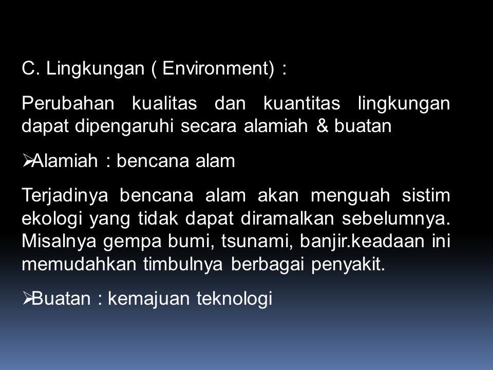 C. Lingkungan ( Environment) : Perubahan kualitas dan kuantitas lingkungan dapat dipengaruhi secara alamiah & buatan  Alamiah : bencana alam Terjadin