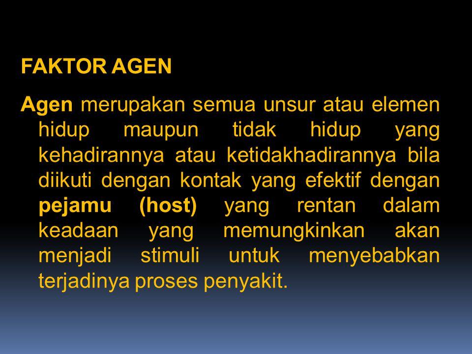 FAKTOR AGEN Agen merupakan semua unsur atau elemen hidup maupun tidak hidup yang kehadirannya atau ketidakhadirannya bila diikuti dengan kontak yang efektif dengan pejamu (host) yang rentan dalam keadaan yang memungkinkan akan menjadi stimuli untuk menyebabkan terjadinya proses penyakit.