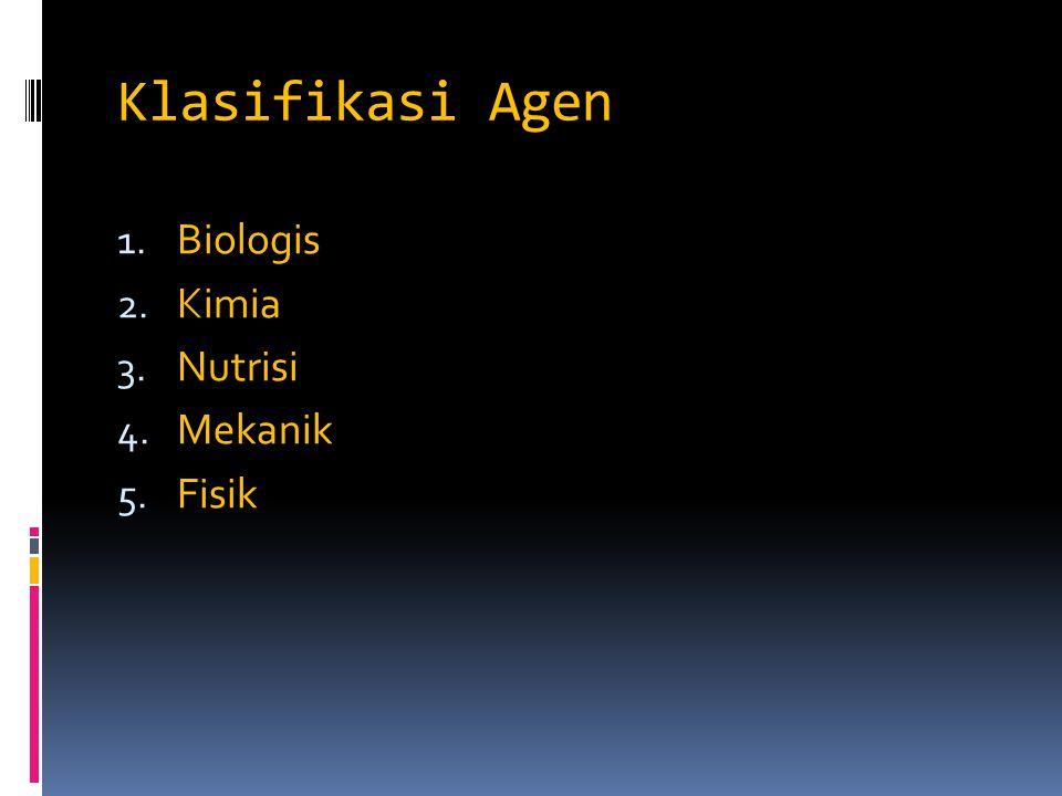 Klasifikasi Agen 1. Biologis 2. Kimia 3. Nutrisi 4. Mekanik 5. Fisik