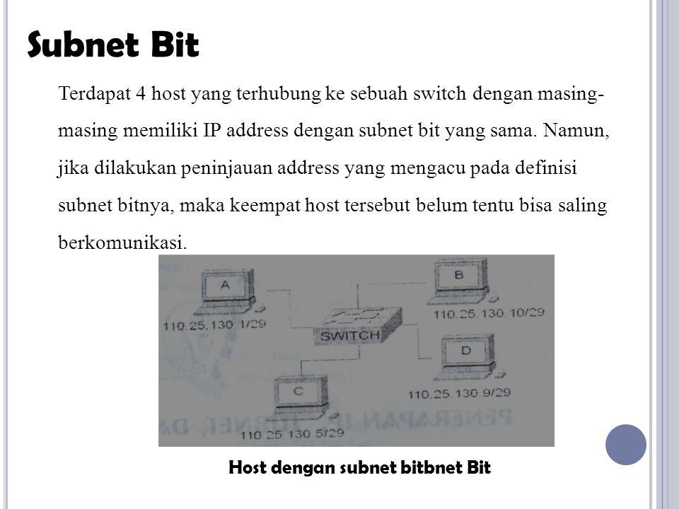 Terdapat 4 host yang terhubung ke sebuah switch dengan masing- masing memiliki IP address dengan subnet bit yang sama.