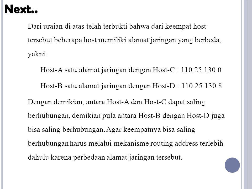 Dari uraian di atas telah terbukti bahwa dari keempat host tersebut beberapa host memiliki alamat jaringan yang berbeda, yakni: Host-A satu alamat jaringan dengan Host-C : 110.25.130.0 Host-B satu alamat jaringan dengan Host-D : 110.25.130.8 Dengan demikian, antara Host-A dan Host-C dapat saling berhubungan, demikian pula antara Host-B dengan Host-D juga bisa saling berhubungan.
