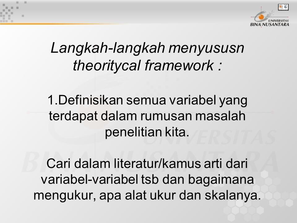 Langkah-langkah menyususn theoritycal framework : 1.Definisikan semua variabel yang terdapat dalam rumusan masalah penelitian kita. Cari dalam literat