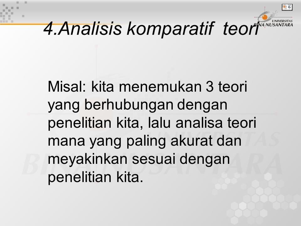 4.Analisis komparatif teori Misal: kita menemukan 3 teori yang berhubungan dengan penelitian kita, lalu analisa teori mana yang paling akurat dan meyakinkan sesuai dengan penelitian kita.