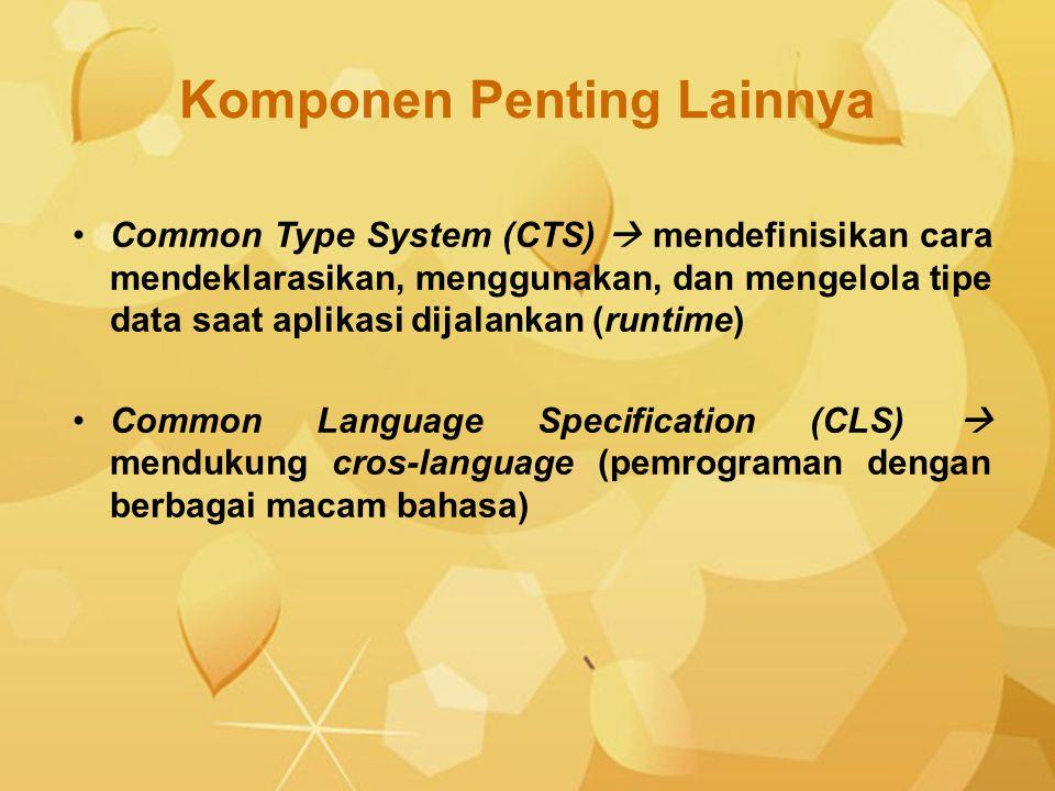 Komponen Penting Lainnya Common Type System (CTS)  mendefinisikan cara mendeklarasikan, menggunakan, dan mengelola tipe data saat aplikasi dijalankan