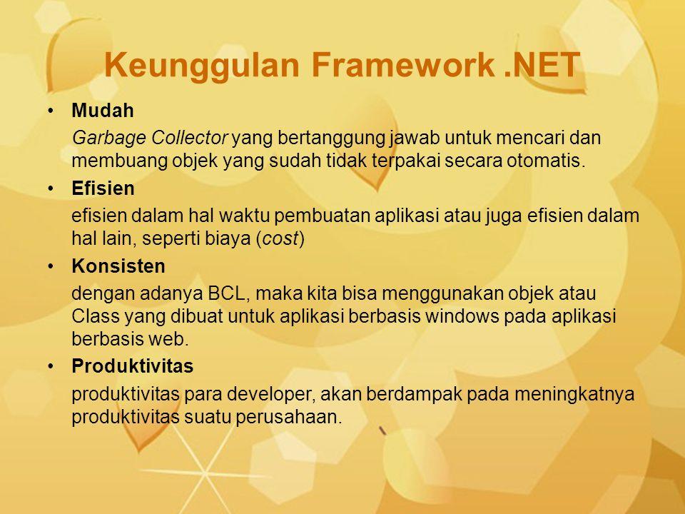 Keunggulan Framework.NET Mudah Garbage Collector yang bertanggung jawab untuk mencari dan membuang objek yang sudah tidak terpakai secara otomatis. Ef