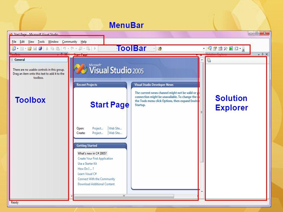 MenuBar ToolBar Toolbox Start Page Solution Explorer