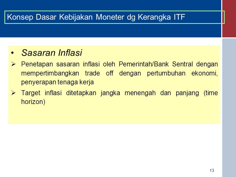 13 Sasaran Inflasi  Penetapan sasaran inflasi oleh Pemerintah/Bank Sentral dengan mempertimbangkan trade off dengan pertumbuhan ekonomi, penyerapan tenaga kerja  Target inflasi ditetapkan jangka menengah dan panjang (time horizon) Konsep Dasar Kebijakan Moneter dg Kerangka ITF