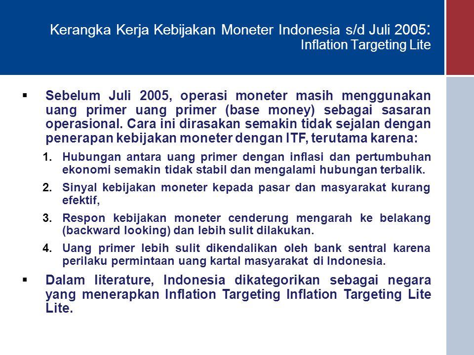 17 Kerangka Kerja Kebijakan Moneter Indonesia s/d Juli 2005 : Inflation Targeting Lite  Sebelum Juli 2005, operasi moneter masih menggunakan uang primer uang primer (base money) sebagai sasaran operasional.