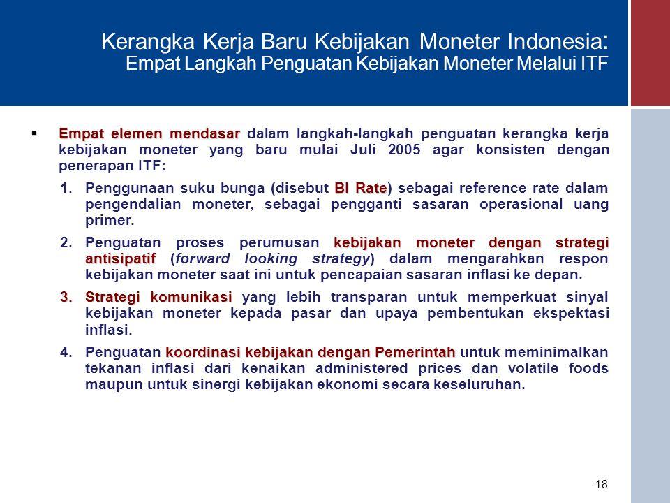18 Kerangka Kerja Baru Kebijakan Moneter Indonesia : Empat Langkah Penguatan Kebijakan Moneter Melalui ITF  Empat elemen mendasar  Empat elemen mendasar dalam langkah-langkah penguatan kerangka kerja kebijakan moneter yang baru mulai Juli 2005 agar konsisten dengan penerapan ITF: BI Rate 1.Penggunaan suku bunga (disebut BI Rate) sebagai reference rate dalam pengendalian moneter, sebagai pengganti sasaran operasional uang primer.