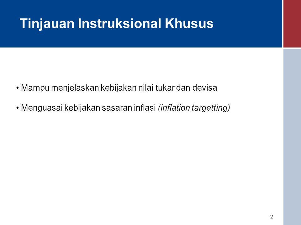 2 Tinjauan Instruksional Khusus Mampu menjelaskan kebijakan nilai tukar dan devisa Menguasai kebijakan sasaran inflasi (inflation targetting)