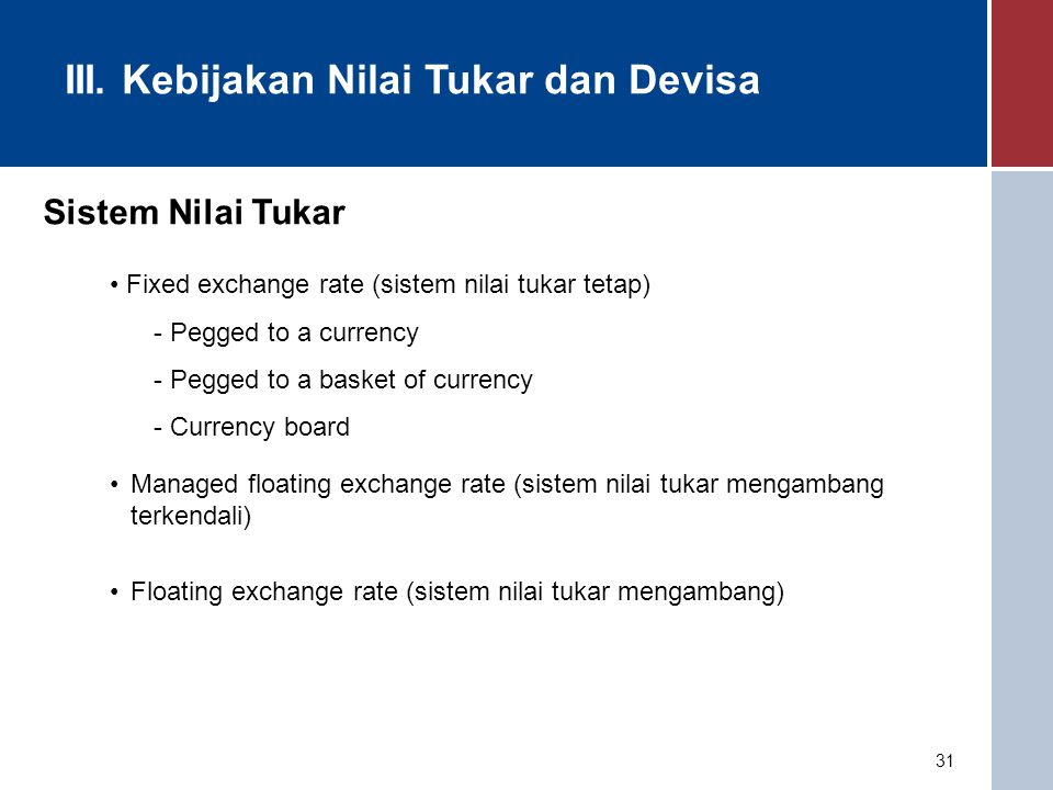 31 Sistem Nilai Tukar Fixed exchange rate (sistem nilai tukar tetap) - Pegged to a currency - Pegged to a basket of currency - Currency board Managed