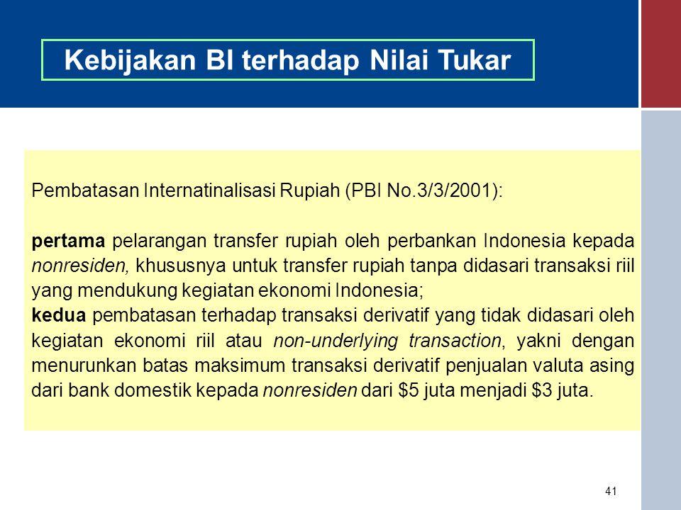 41 Kebijakan BI terhadap Nilai Tukar Pembatasan Internatinalisasi Rupiah (PBI No.3/3/2001): pertama pelarangan transfer rupiah oleh perbankan Indonesi