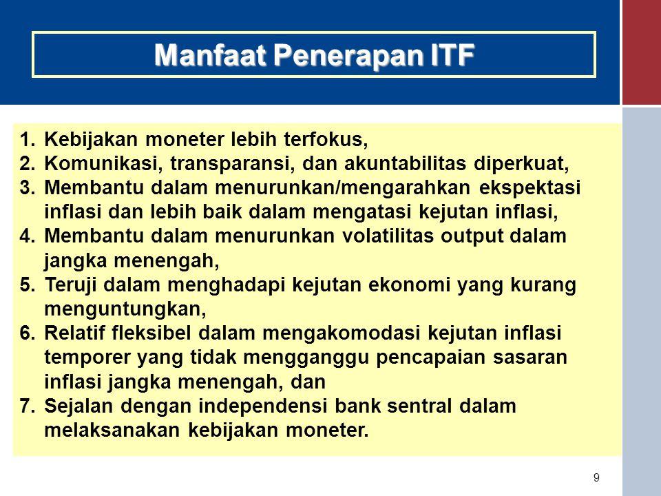 10 Syarat implementasi IT  Bank sentral yang independen (minimal instrument independence ).