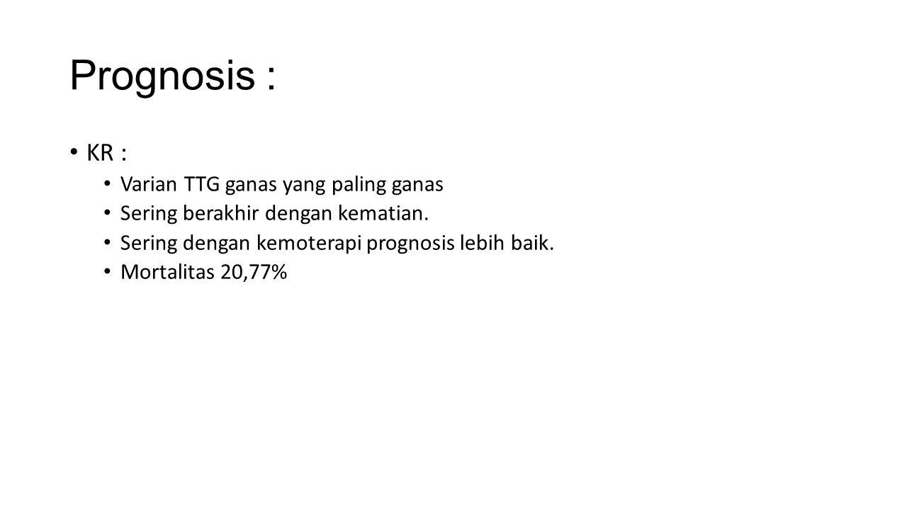Prognosis : KR : Varian TTG ganas yang paling ganas Sering berakhir dengan kematian.