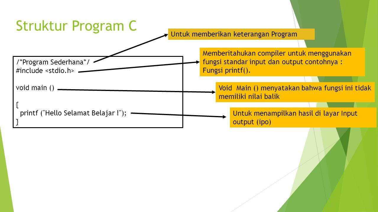 Struktur Program C /*Program Sederhana*/ #include void main () { printf (