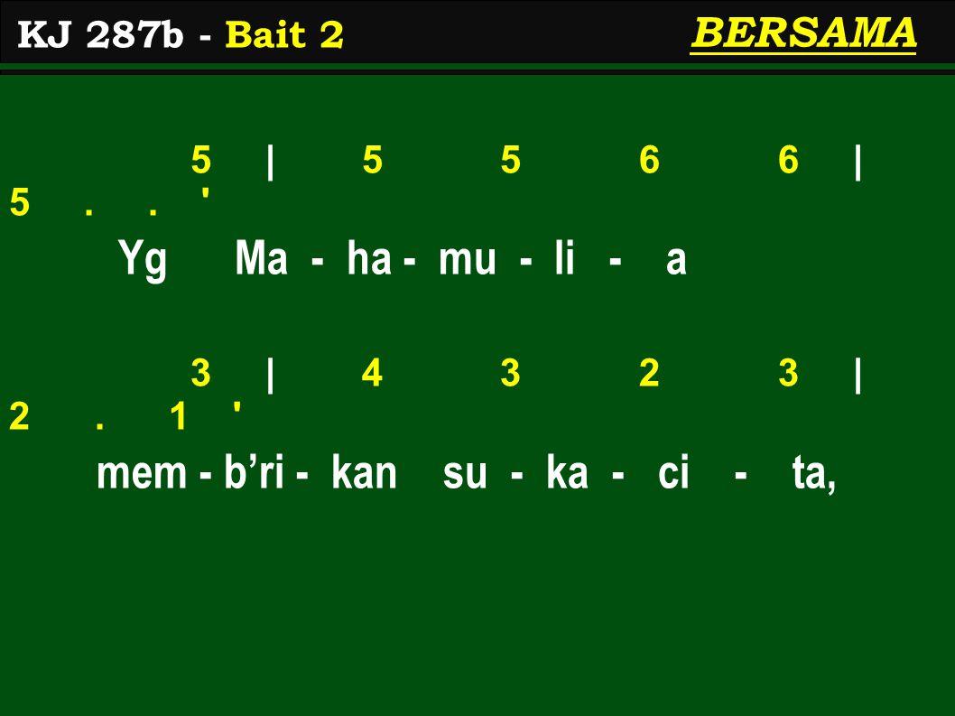 5 | 5 5 6 6 | 5.. Yg Ma - ha - mu - li - a 3 | 4 3 2 3 | 2.