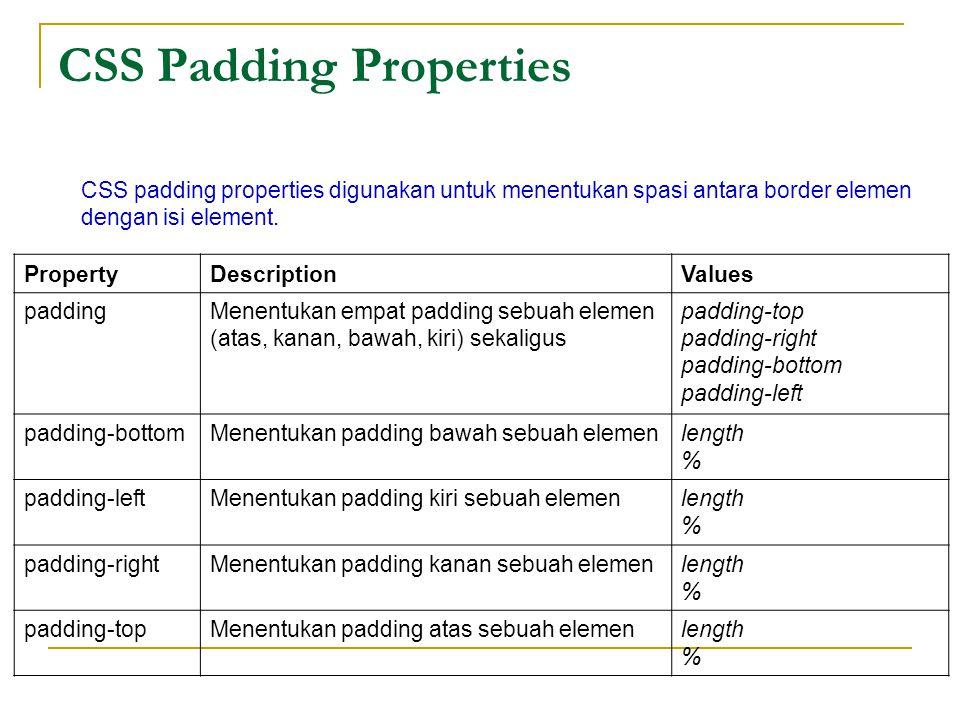 CSS Padding Properties CSS padding properties digunakan untuk menentukan spasi antara border elemen dengan isi element.
