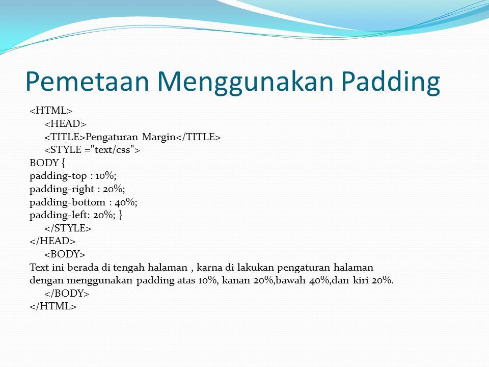 Pemetaan Menggunakan Padding Pengaturan Margin BODY { padding-top : 10%; padding-right : 20%; padding-bottom : 40%; padding-left: 20%; } Text ini bera