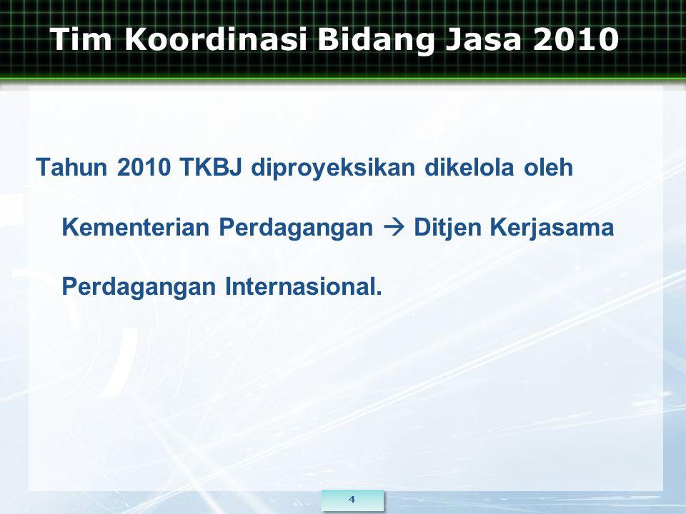 Tim Koordinasi Bidang Jasa 2010 Tahun 2010 TKBJ diproyeksikan dikelola oleh Kementerian Perdagangan  Ditjen Kerjasama Perdagangan Internasional.
