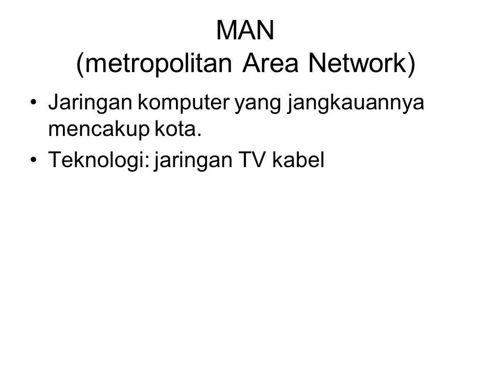 MAN (metropolitan Area Network) Jaringan komputer yang jangkauannya mencakup kota.