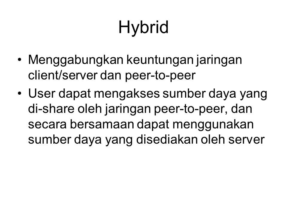Hybrid Menggabungkan keuntungan jaringan client/server dan peer-to-peer User dapat mengakses sumber daya yang di-share oleh jaringan peer-to-peer, dan secara bersamaan dapat menggunakan sumber daya yang disediakan oleh server